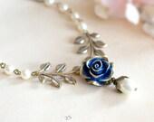 Dark Blue Navy Rose Flower Brass Leaf Branch Ivory Cream Pearl Necklace, Gold Navy Blue Bridal Necklace, Something Blue Woodland Wedding