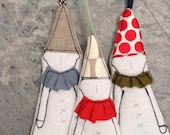 Holiday decor, Christmas handmade ornament  -Set of 3 holiday dwarf clown in pointy hat ,in shades of beige,red ,blue,olive ,stripes & spots