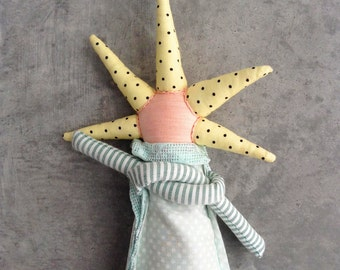 Modern kids , home decor doll , funky doll , Stuffed rag doll , fabric doll , Plushie Toy , timo handmade eco doll , yellow mint silver