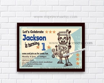 Toy Robot Birthday Invitation, for any age, 1st 2nd 3rd 4th 5th kids birthday invitation Vintage boy toy party Invitation - card  365