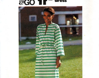 Butterick 5258 Vintage 70s Sewing Pattern for Misses' Dress - Uncut - Sizes Petite, Small or Medium