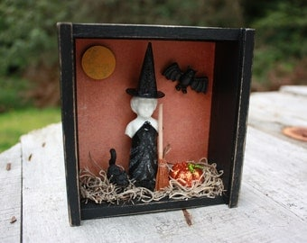 Frozen Charlotte Witch Halloween decor altered box mixed media orange black October 31 assemblage OOAK cat moon pumpkins broomstick decor