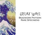 Great Wave off Kanagawa Peyote Stitch Pattern - Cuff Bracelet - Bookmark - Beaded Tapestry - PDF file