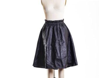 70's Leather Skater  Skirt