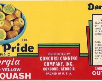 Dan's Pride Yellow Squash Vintage Can Label, 1940s