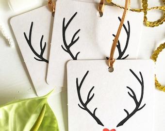 Christmas Reindeer Gift Tags - Christmas Gift Tags - Christmas Wrapping - Christmas Tags - Reindeer Antlers