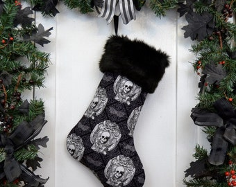 Gothic Skull Damask Christmas Stocking, Halloween Decoration, Black and White, Bats Damask, Black Faux Fur, Horror Fan