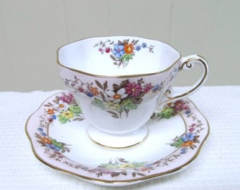 Vintage Foley English Bone China Tea Cup and Saucer Set / 1930s Pink Floral Transferware
