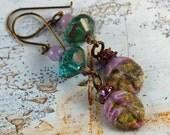 Artisan Earrings Rustic Turquoise Light Purple  Brown Boho Earthy Chandelier Earrings