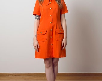 Beagle collar mini dress pockets orange a line dress scooter 1970's
