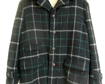Vintage 1930s H.W. CARTER'S forest green wool plaid jacket hunting jacket, size Large