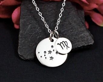 Virgo Constellation Necklace Sterling Silver | Virgo Jewelry | Virgo Sign Necklace | Virgo Zodiak | Personalized Virgo Birthday Gift