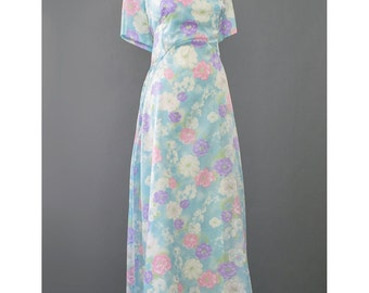 SALE - 60s Evening Gown Blue Floral Print Long Formal Dress Organza Dress 1960s Gown A Line Empire Waist Maxi Dress Plus Size