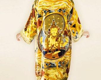 Gypsy VELVET BURNOUT Buddha Prayer Kimono Duster-Olive