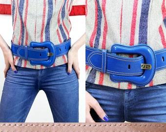 SALE! FENDI Belt Vintage Turquoise Blue Designer Big Buckle BELT // Vintage Belts by TatiTati Style on Etsy