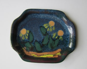 Desert Flowers Art Pottery - Shallow Tray Shaped Dish - Hand Painted Clay with Enamel Style Glaze - Artist Signed Morgan