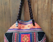 SALE/Vintage Hmong tote bag ethnic handmade Tribal embroidery geuine leather strap