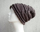 Womens Hat Slouchy Hat Women Hat Oversized Hat Cable Hat Chunky Knit Hat Beanie Slouchy Women Hat Slouch Beanie Taupe Hand knit hat