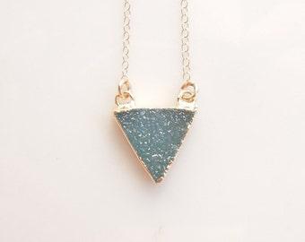 Druzy Necklace in Dark Aqua - Triangle Necklace - OOAK Jewelry