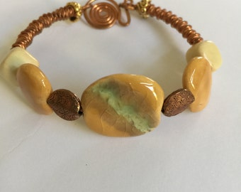 Kazuri Beads from Africa and Copper Bracelet