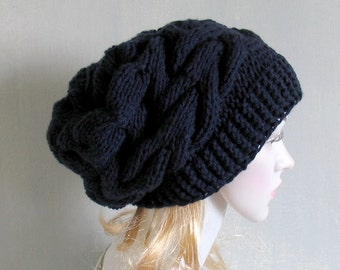 Slouchy Beanie Slouch Hat Oversized Beret Chunky Hand Knit Hat Women Men Knitted  Hat Fall Winter Accessory