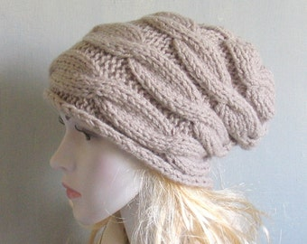 Slouchy Beanie Slouch Hats Oversized  Winter Accessories  Slouchy Beanie Hat  OATMEAL slouchy knit hats Women Knit Hat Hand Knit Hat Braid