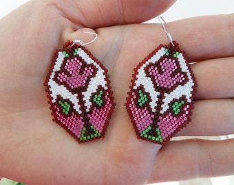 Statement Womens Earrings, Colorful Beaded Earring, Flower Peyote Earrings, Ethnic Earrings, Seed Bead Earrings, Beaded Jewelry SALE