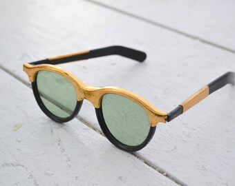 1940s Black and Gold Grantly Sunglasses