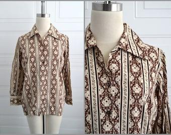 1970s Brown Persian Print Shirt