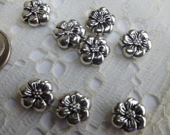 8 Tibetan Silver Hibiscus Flower Spacer Beads 9.5mm