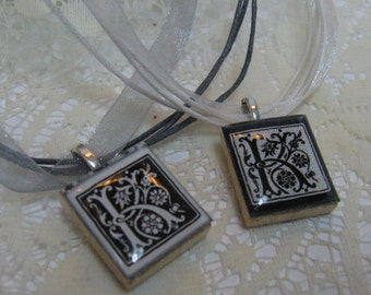 Black and White Monogram Scrabble Tile Necklace on Ribbon or Ball Chain