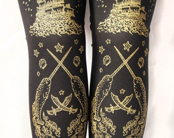 L Pirate Tights Narwhal Tattoo Large Gold on Black 60 D Semi Opaque Tattoo Sailor Octopus Squid Ocean Nautical Lolita