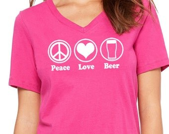 Peace Love Beer, Funny Beer Shirt, Yoga Shirt, Workout Shirt, Namaste, Beer Lover, Beer Girl, Homebrewer, Beer Festival, Christmas Gift