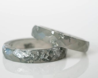 size 8 | multifaceted eco resin thin ring | graphite grey with metallic silver lakes