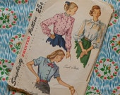 Vintage 1940s Sewing Pattern / Pretty Peter Pan Collar Fitted Blouse Shirt / Size 14 - 32 Bust / Simplicity 2382