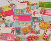 Pretty Vtg Christmas Gift Tag Collection x24 ~Retro Pinks Gold & Blues~