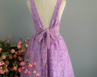 A Party V Backless Dress Sparkle Lilac Lace Dress Prom Party Dress Lilac Backless Dress Lilac Lace Wedding Bridesmaid Violet Dress XS-XL