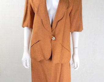 Original Vintage Chloe Golden Caramel Slubbed Linen Skirt Suit UK Size 14/16