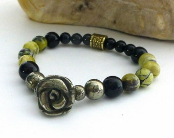 Yellow Turquoise Bracelet, Stretch Bracelet, Carved Pyrite Rose, Layering Bracelet, Natural, Organic