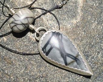 Black Zebra Jasper Sterling Silver Pendant, bohemian pendant, teardrop pendant, beach pendant