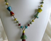 SALE Artist Lampwork Beads, Seed Beads Long Necklace, Geometric Look, Cones Hawaiian Lampwork Artist Patricia Larson, Unique Colors