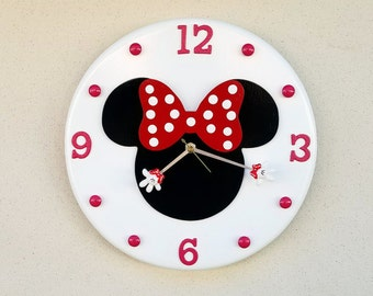 Minnie Mouse Clock, Minnie Mouse, Minnie Mouse Wall Clock, Disney Clock, Disney, Custom Disney Clock, Made to Order Clock, Minnie Clock