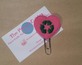 Hot Pink Recycle Heart - Felt Paperclip Bookmark
