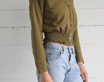 shirt, top, long sleeve, 90s, button front, minimal, olive green, neutral, cotton, basic, minimalist, womens medium m
