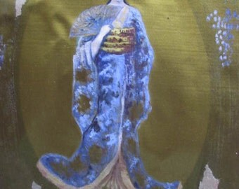 Little Vintage Gouache Painting on Silk. Japanese Beauty. Geisha.