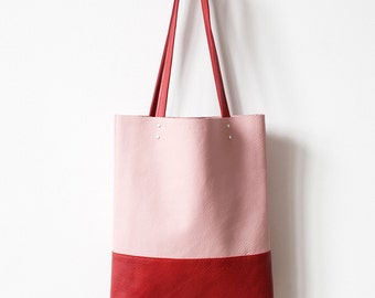 Clearance SALE Red Pink Leather Tote bag
