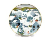 Art Plate by Betsey Bates / Home for Christmas / World Book Annual Christmas Plate / Signed / c1982