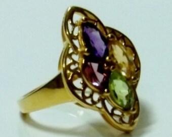 Amethyst, Citrine, Rhodolite Garnet, Peridot Ring