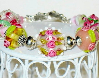Crystal Pink and Green Lampwork Bracelet