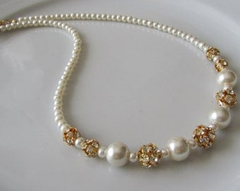 Ivory pearl necklace with golden rhinestones, ivory pearl necklace, bridal necklace, bridesmaid necklace